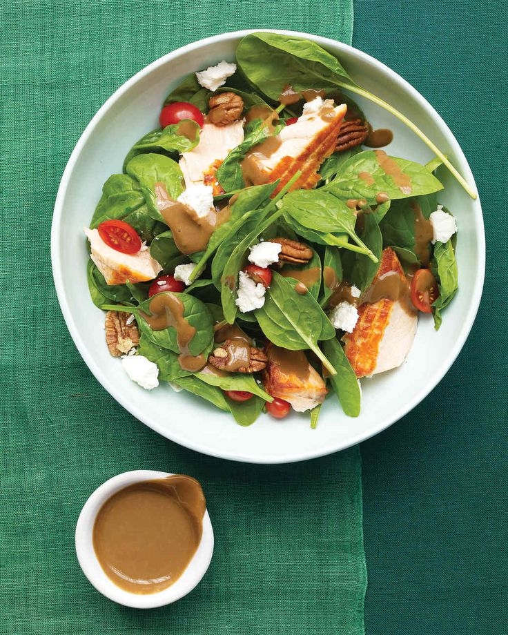 Spinach Salad with Salmon | Martha Stewart Living - If you have a full schedule of Mother's Day activities planned, this protein-rich salad (salmon, goat cheese, and nuts) will keep you and your mom going for hours.