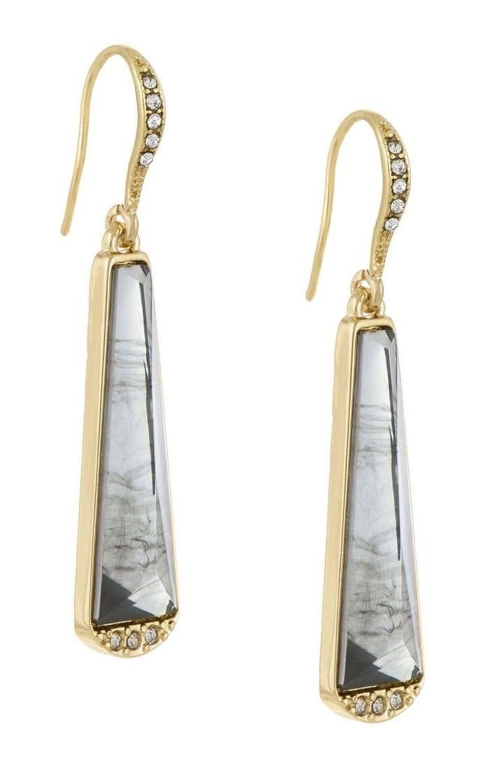 Steal the show with the Laundry® Linear Stone Inlay Drop Earrings.