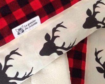 Douillette bassinette couverture chasseur bucheron literie bébé doudou garçon noir et rouge doublé de minky