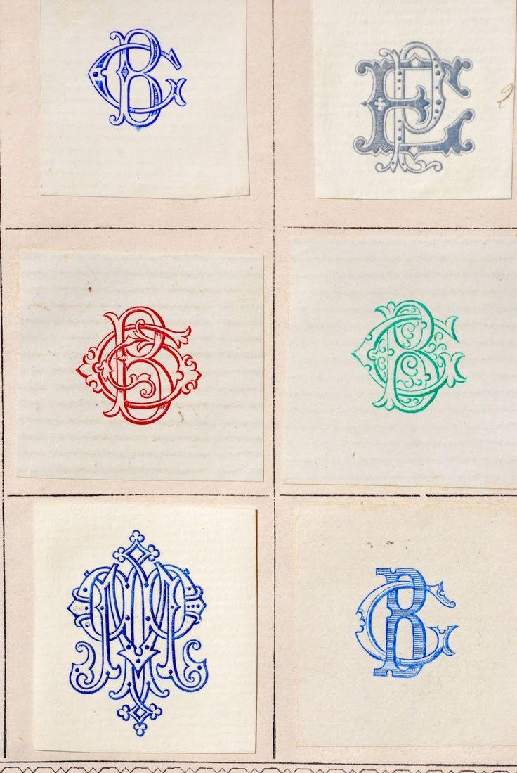 19th century French monograms via @Jennifer Kennard (Letterology)