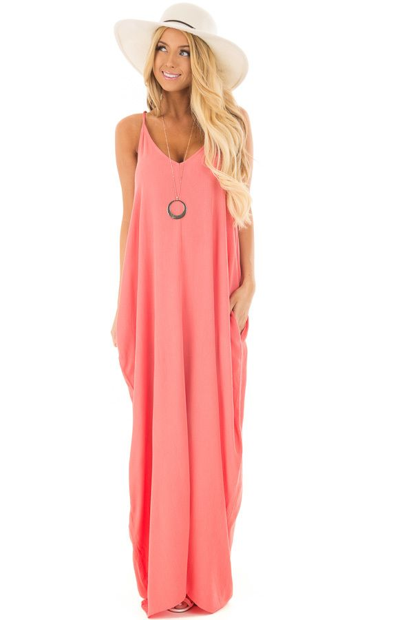 c6a33ad6b0 Coral Sleeveless Cocoon Maxi Dress with Side Pockets