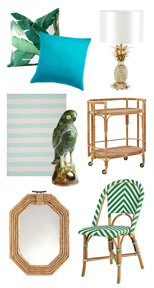 Tropical Home Decor / Banana Leaf Pillow / Parrot / Pineapple Lamp / Rattan