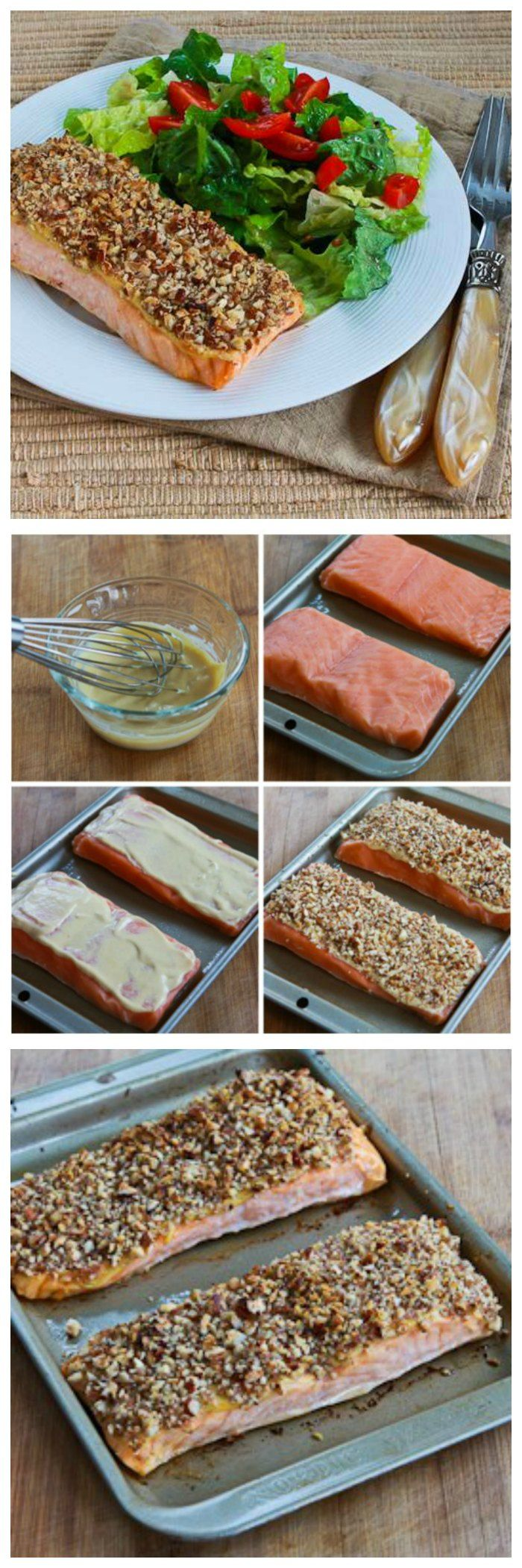 Pecan-Crusted Dijon Salmon is perfect for a special meal, and this recipe is as easy as it is delicious.  This is low-carb, gluten-free, and SBD Phase One and if you use approved mayo it can easily be Paleo.  [from KalynsKitchen.com]