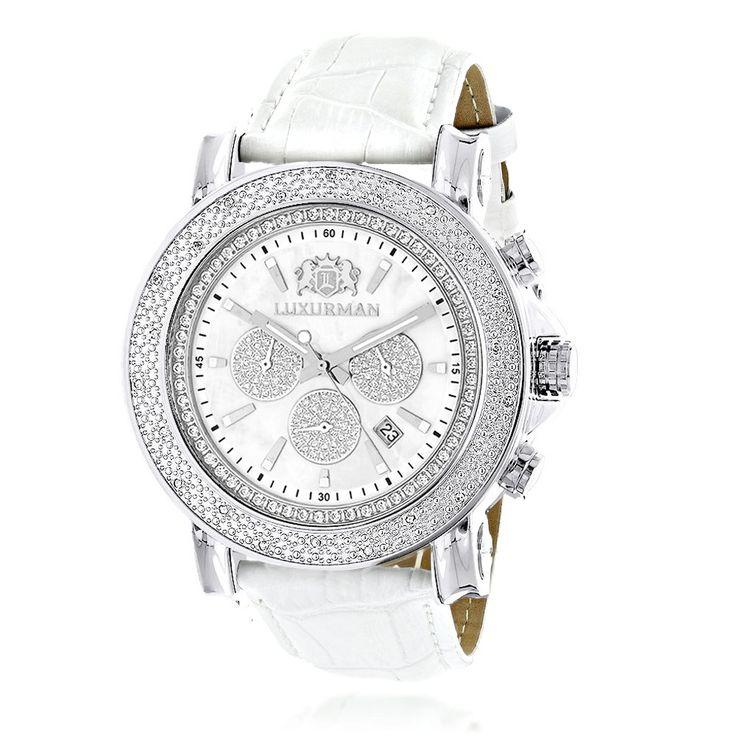 Oversized Mens Diamond Watch 0.25ct White Mop Luxurman Escalade Chronograph