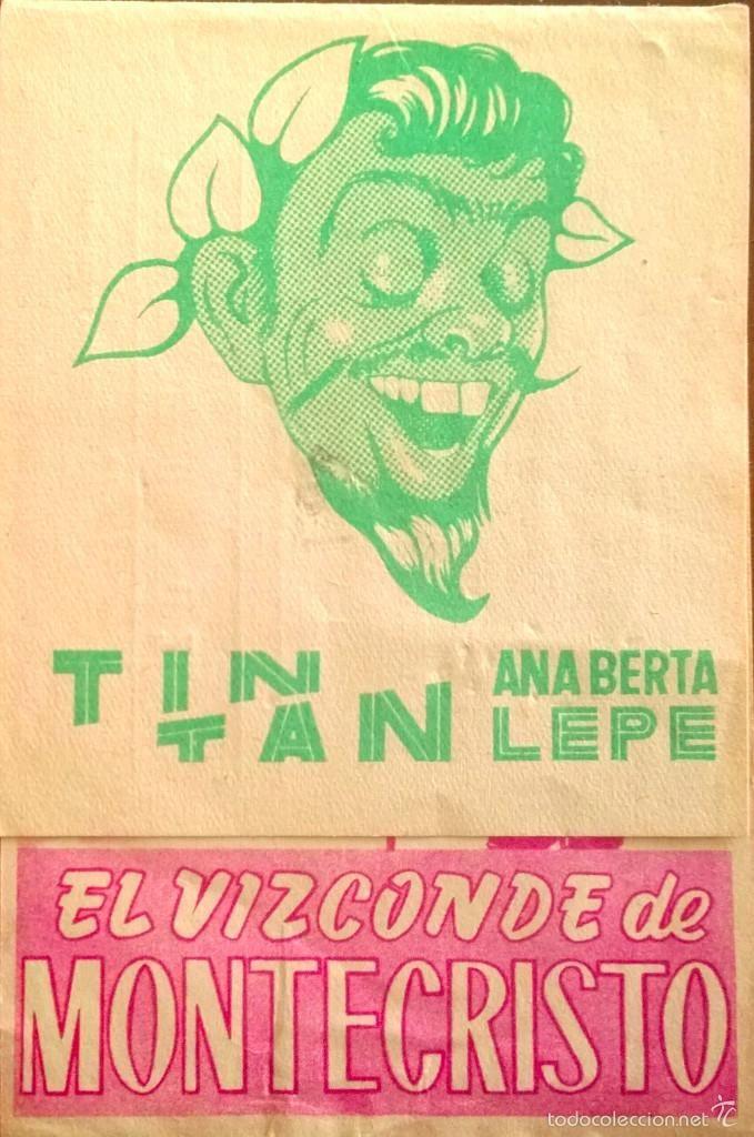 EL VIZCONDE DE MONTECRISTO- DOBLE- TINTAN-PUBLICIDAD CINE LLAGOSTERENSE 29 JUNIO 1958 - Foto 1