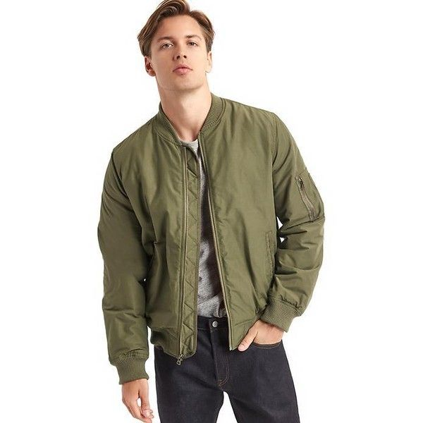 Gap Men Vintage Bomber Jacket ($98) ❤ liked on Polyvore featuring men's fashion, men's clothing, men's outerwear, men's jackets, surplus, tall, mens jackets, mens flight jacket, gap mens outerwear and mens blouson jacket