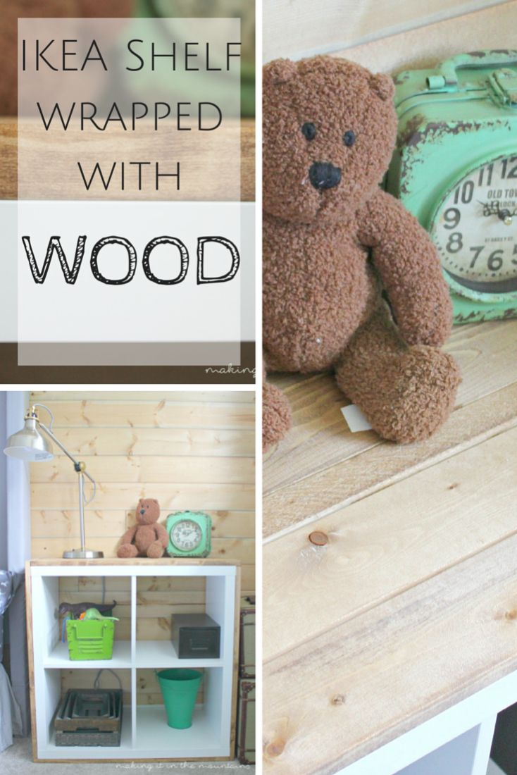 Looking for the perfect way to add some rustic charm to a plain ol' IKEA shelf? You're going to LOVE this IKEA hack! Check out this tutorial showing you how to wrap an IKEA Kallax with wood!