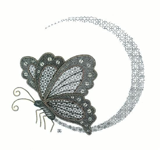 Tanja Berlin - Berlin Embroidery Designs: Spectral Blackwork Butterfly Embroidery Kit.