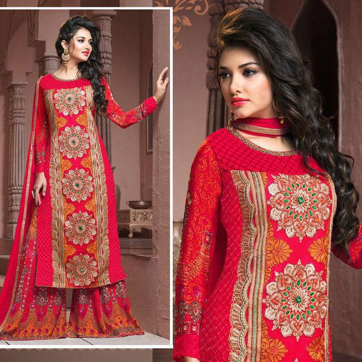 indian embroidered bollywood wedding party pakistani salwar kameez suit plazo #Handmade #salwarkameez #Festive