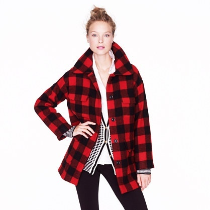Buffalo plaid coat // Get your lady one.