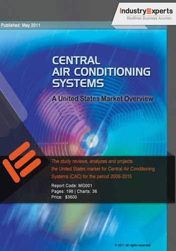 Central Air Conditioning Systems – A US Market Overview: In terms of unit shipments, Central Air Conditioners in the US are estimated at 4.5 million units in 2010, valued at US$ 9.22 billion. Though unit shipments are forecast to exhibit low CAGR of 1.70% over the 2006-2015 analysis period, shipment value is expected to maintain high CAGR of 5.02% during the same period. This can be attributed to changes in unit prices that vary from year to year, dependent on demand and new technologies.