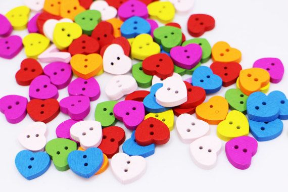 10 Bright Red coloured circle 4 hole Wooden Buttons 25mm