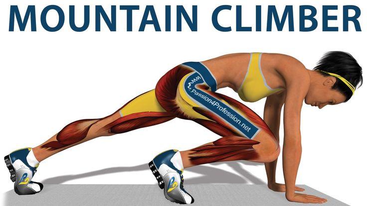 """O """"Mountain Climber"""" é um dos exercícios cardíacos mais famosos. Trata-se de um exercício avançado de alta intensidade, que aumenta a frequência cardíaca, ac..."""