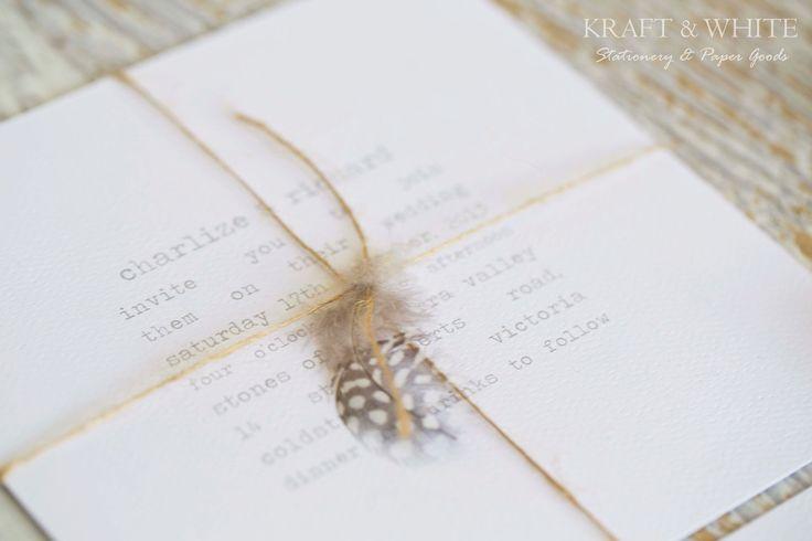 Sample wedding invitation set SUITE 12:Rustic wedding invitation with natural jute twine and guinea feather invitation, white invite. $9.95, via Etsy.