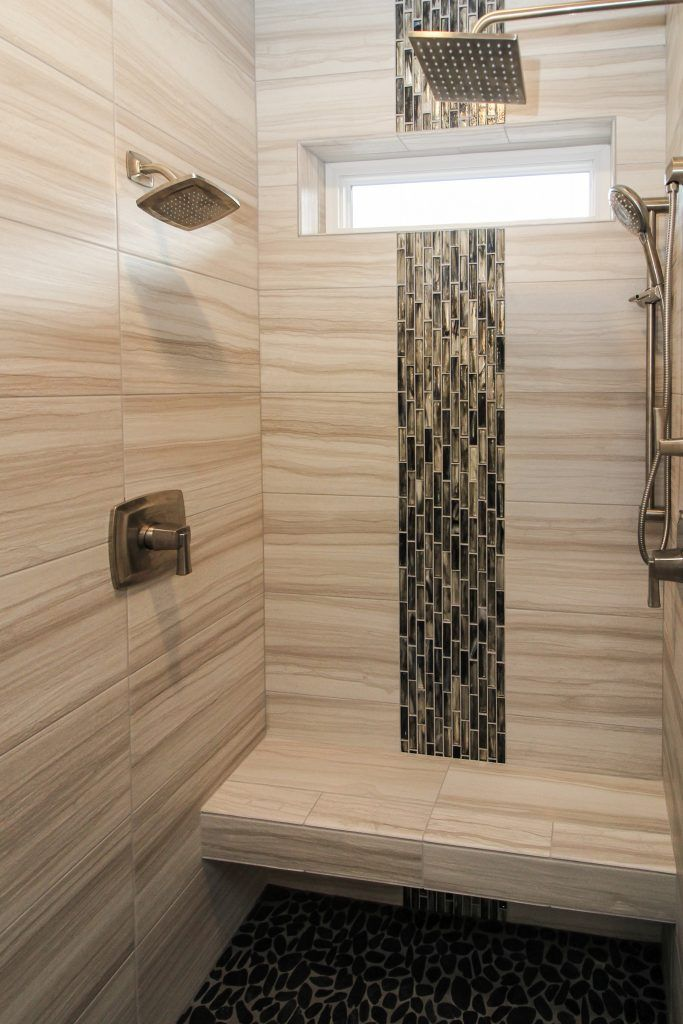 Tan Tiled Shower With Brown And Green Mosaic Design In 2020 Bathroom Remodel Shower Shower Tile Bathrooms Remodel