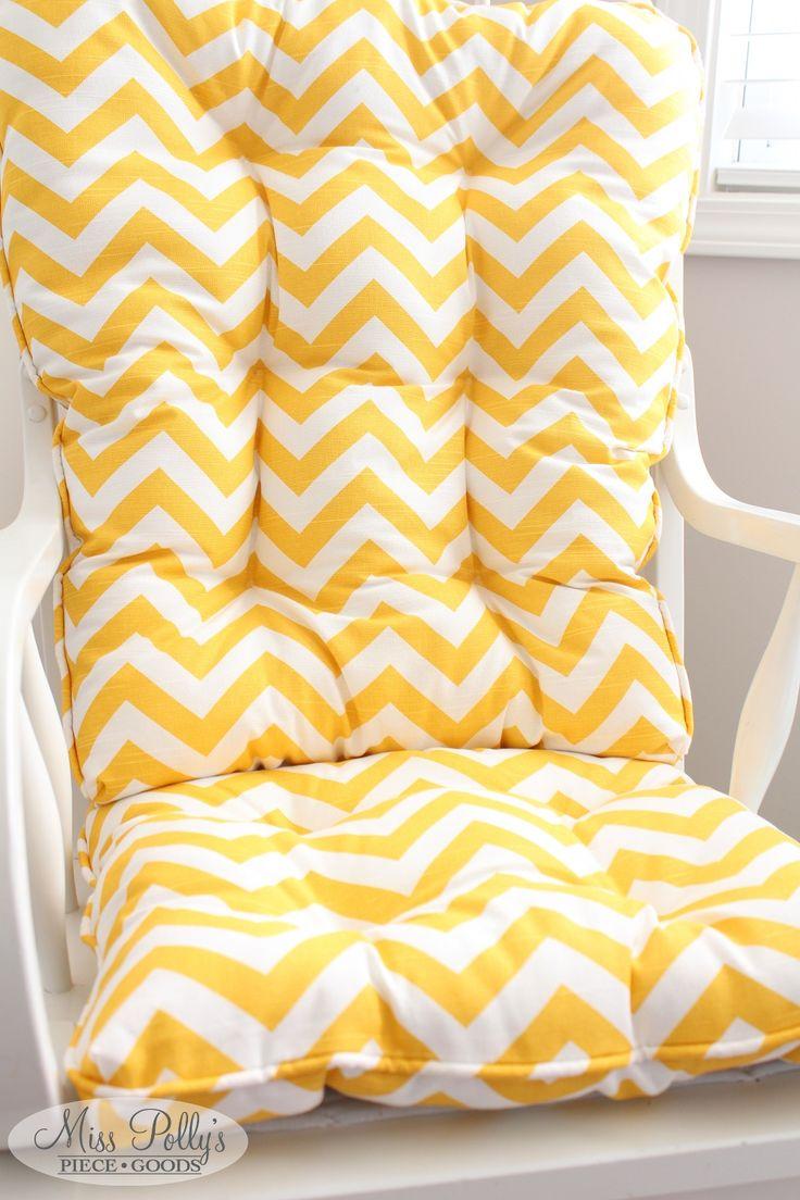 Lovely Yellow Chevron Glider/rocking Chair Cushions Custom Made By  MissPollysPieceGoods Https://www