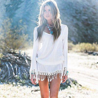 Strandkleid Tunika Bluse im Boho Hippie Style in weiß mit Fransen Gr.S