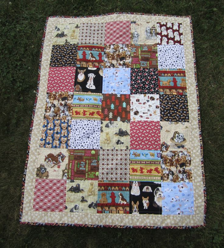 """Quilted Fleece Blanket """"It's a Dog's Life"""" Soft Lap Quilt, Colorful Dogs, Black and White Doggy Paws, Patchwork Quilt, Quiltsy Handmade by ISewTotes on Etsy"""