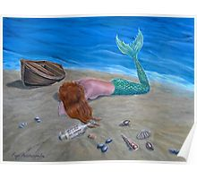 Poster, mermaid,painting,lying,seascape,fantasy,coastal,sandy,beach,scene,marine,nautical,wooden,boat,nude,feminine,fish,tail,creature,message in a bottle, shells, ,vivid,colorful,aqua,blue,water,beautiful,awesome,cool,contemporary,realistic,figurative,fine,wall,art,images,home,office,decor,artwork,modern,items,ideas,for sale,redbubble
