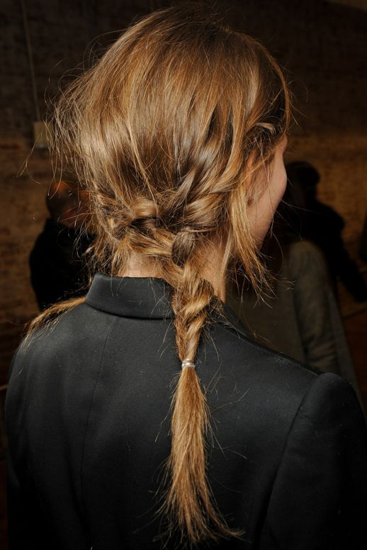 messy side braids