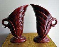 Diana Pottery Pair of Jugs/Trumpet Vases 92/1095 Art Deco Australia Rare 25 cm