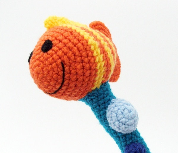 Crochet baby rattle - colorful amigurumi toy fish and bubbles. $20.00, via Etsy.