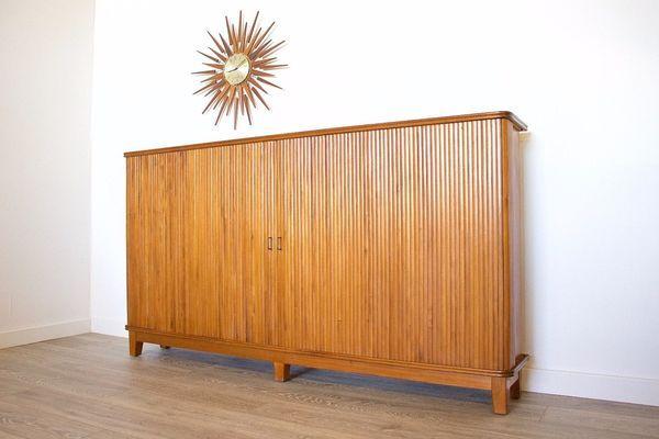 Mid Century Retro Danish Walnut Cabinet Murphy Pull Out Folding Bed Space Saver #20thcentury # midcentury #modern