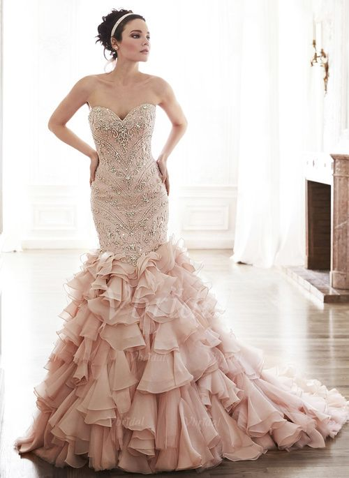 Wedding Dresses – $337.33 – Trumpet/Mermaid Strapless Sweetheart Chapel Train Organza Tulle Wedding Dress With Beading (0025056593)