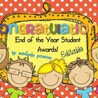 End of the Year Student Award Certificates {EDITABLE}.  Inside this packet you'll find two sets of  End of the Year Awards/Certificates!  You can choose if you would like to use the student awards with colorful backgrounds or the ones with less color.