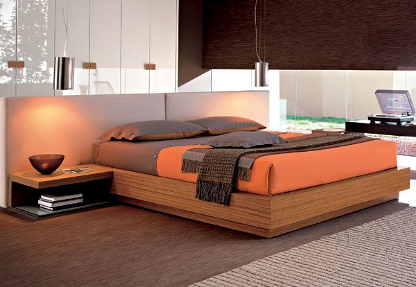 Charming Sleek Bedroom Design Displaying Brown Cherry Wood Bed Frame With Grey And Orange Rectangle Foam Mattress Also Brown Wooden Floating Shelf In Bedside As Well As Queen Bedroom Furniture Also Dark Wood Bedroom Furniture of Fashionable Scenic Cheap Bedroom Furniture For Compelling Bedroom Decor from Bedroom Ideas