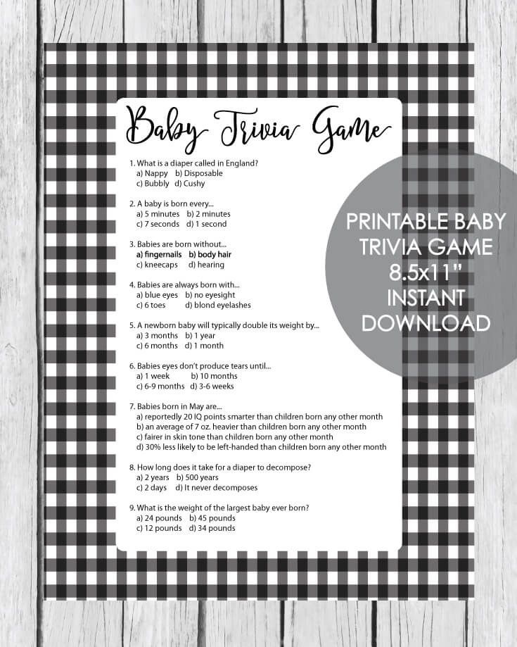 Printable Baby Shower Trivia Game Black And White Plaid Baby Shower Candy Bar Game Baby Shower Candy Bar Baby Shower Prizes