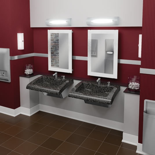 classic bathroom with verge lavatory systems and diplomat accessories bradley corporation