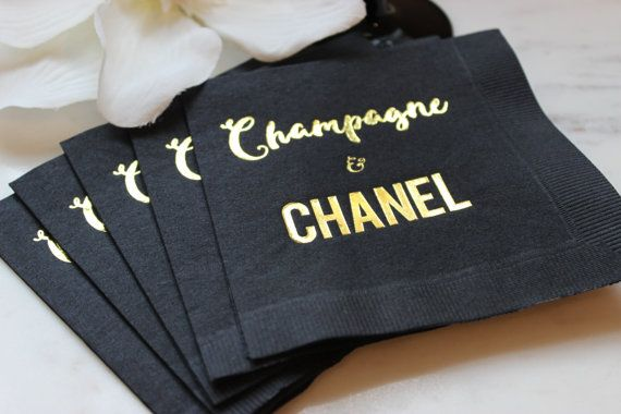 Champagne and Chanel beverage cocktail napkin. Perfect for girls night out, dinner party, sweet 16, bachelorette party, bridal shower, birthday party or just a fabulous luncheon. Give these as a gift to your favorite fashionista. Chanel your inner Heather Dubrow. Popping bottles on New Years Eve in style by EatCoutureCupcakes