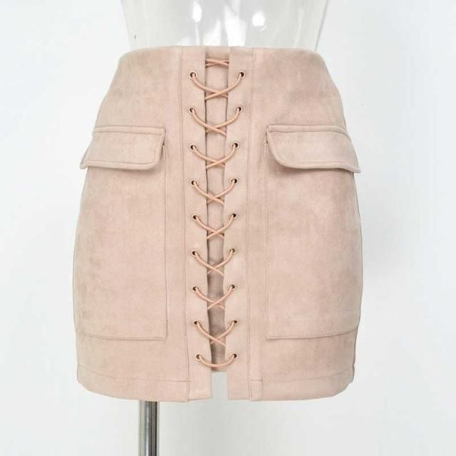 Suede Lace Up Skirt