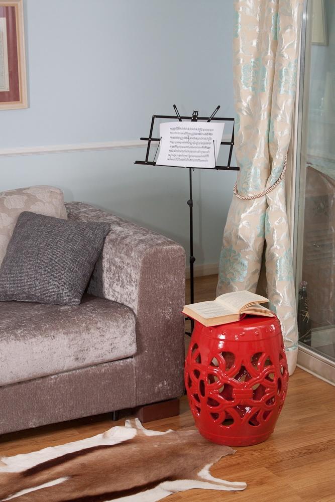 red garden stool