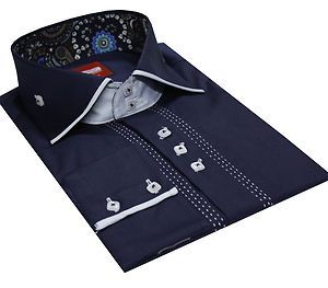 Men's Formal Casual Italian Design Shirts Slim Fit Designed Collar Navy Colour
