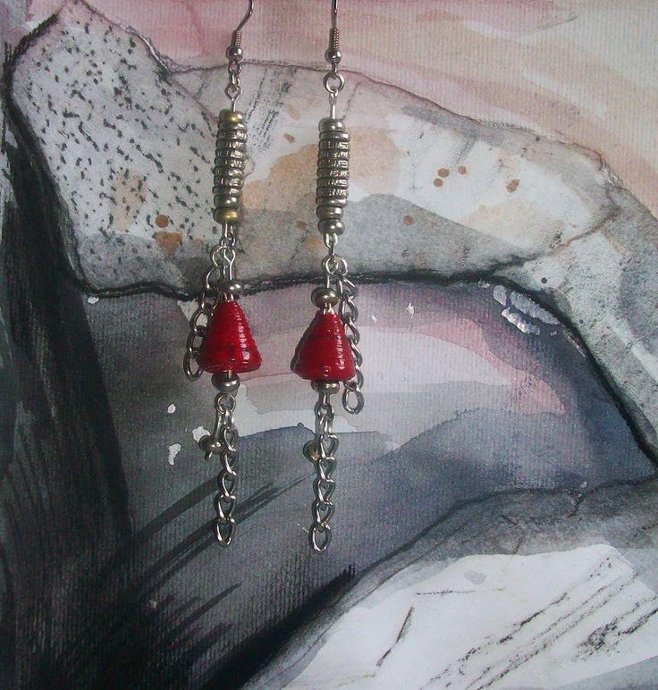 Ne Na handmade paper beads earrings/ art