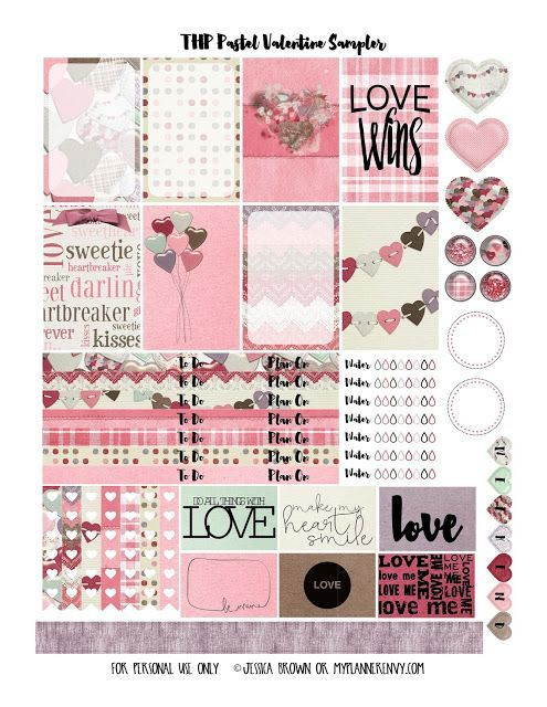FREE Pastel Valentine Sampler - - for The Happy Planner and the Erin Condren Life Planner by My Planner Envy