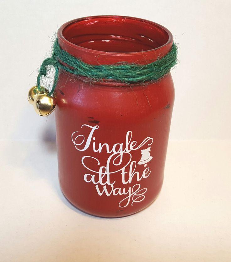 Jingle all the way, Christmas jar, jingle bells, Christmas vase, Holiday decor, Christmas decor, teacher gift, painted jar, Christmas jar by KimmsHomeDecor on Etsy