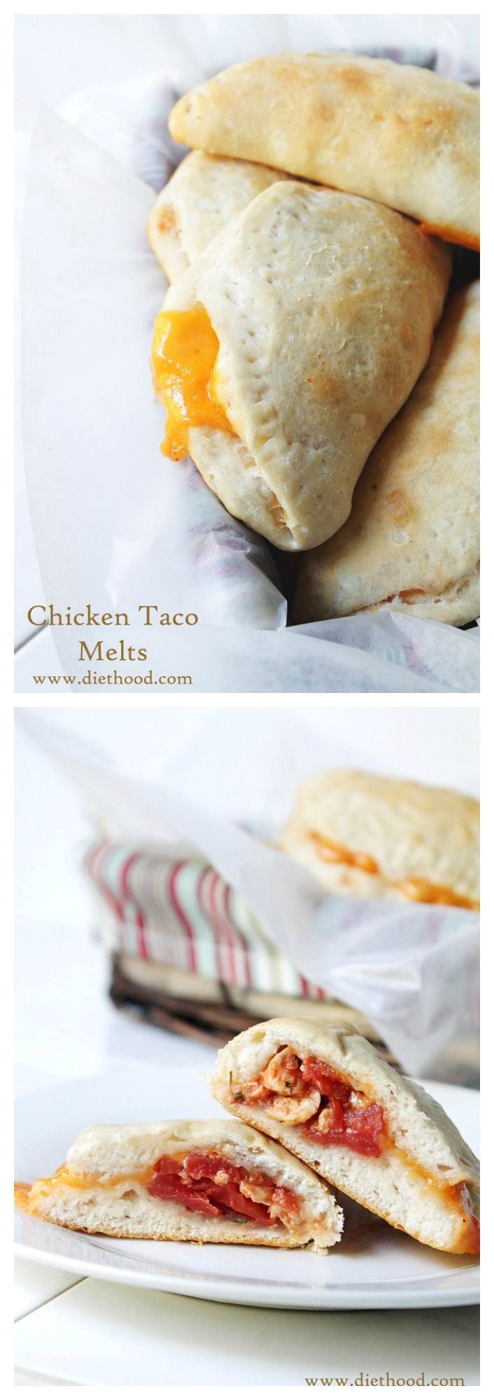 Chicken Taco Melts | www.diethood.com | Flavorful and ready-to-bake Biscuits filled with a delicious Chicken taco mixture and shredded cheeses. | #recipe #dinner