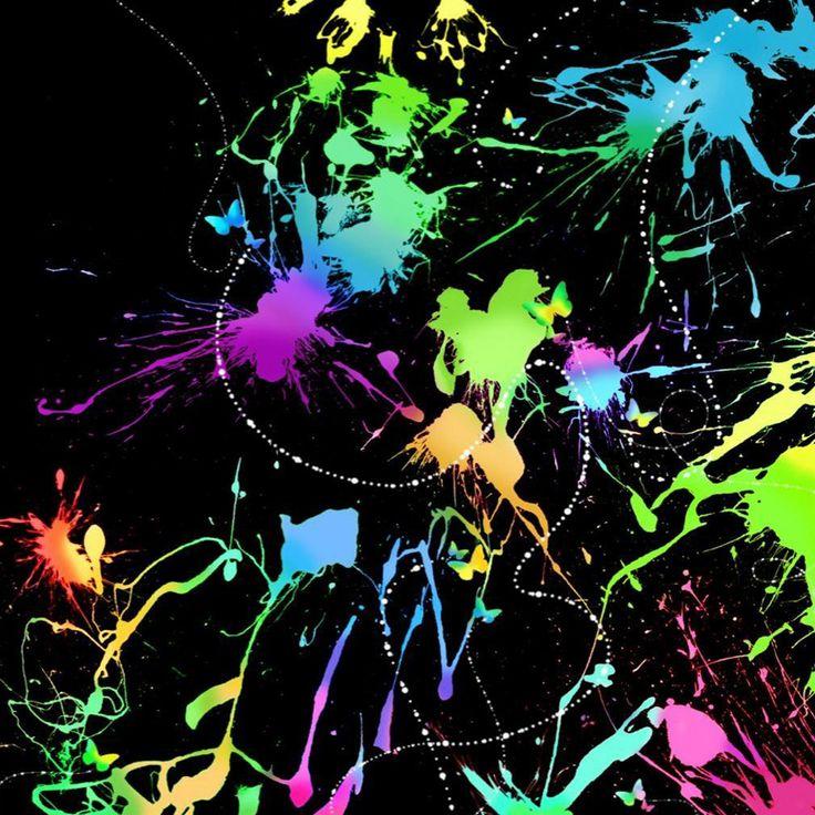 Fluorescent Paint Splatters On Black