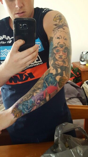 Almost finished! Still got Inside upper arm, wolve and purple back ground to go.