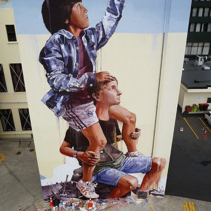 Day 97: Aussie artist @fintan_magee Fintan Magee painted this signature piece last year in Dunedin NZ. The mural shows three iconic characters trying to catch clouds. Such incredible skill!  #100DaysOfArtists #artuncovered #art #contemporaryart #Australia http://ift.tt/1TN6MFr