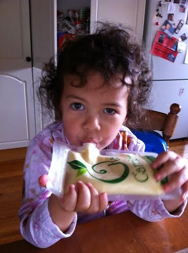 Madi 3 years old enjoying yogurt from her 300ml Kai Carrier