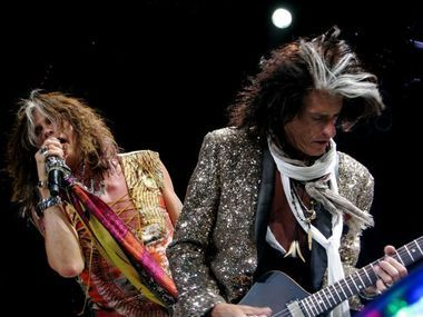 Steven Tyler, left, and Joe Perry of Aerosmith perform Tuesday, June 19, 2012, at The Q in Cleveland.