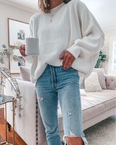 oversized white sweater -- not too bulky // Denim under $100- I sized up one siz... 3