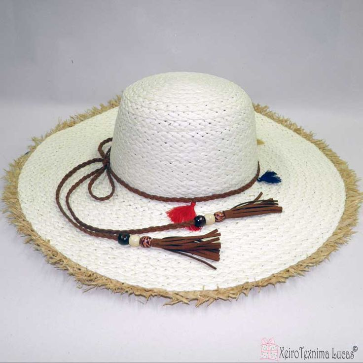 Γυναικείο ψάθινο καπέλο λευκό