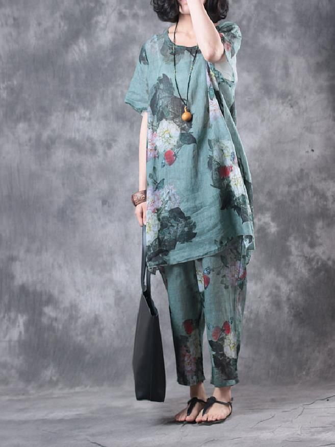 Over50 Style Vintage Flowers Print Loose Top With Linen Comfortable Trousers #trousers #linen #comfortable #vintage #flowers #suits #amazing #linen #wholesale