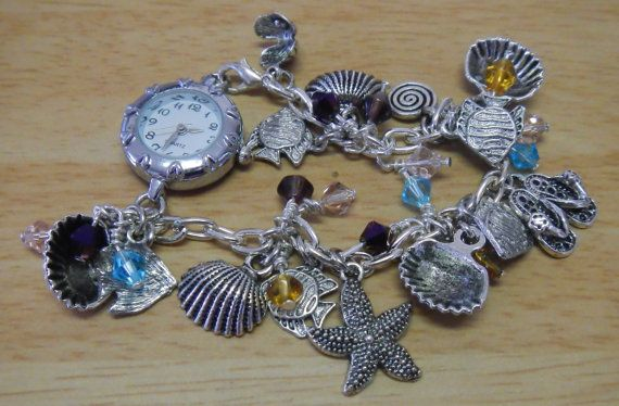 Watch with ocean themed charm bracelet and swarovsky elements crystals