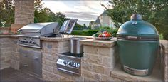 big green egg in outdoor kitchen |